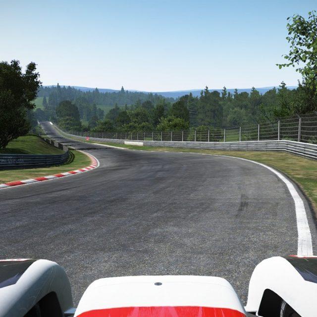 Rennauto auf der Nordschleife, einem weltbekannten Abschnitt vom Nürburgring.